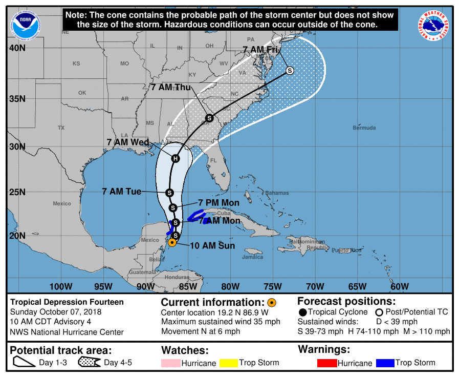 10/7/2018 10AM Hurricane Michael Forecast