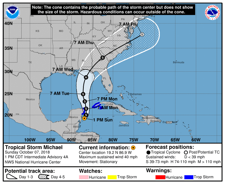 Hurricane Michael 1pm forecast 10/7/2018