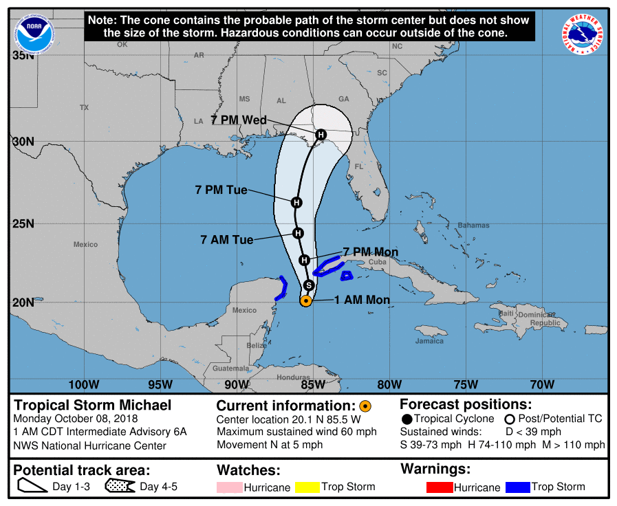 10/8/2018 NHC Hurricane Michael Forecast 1am