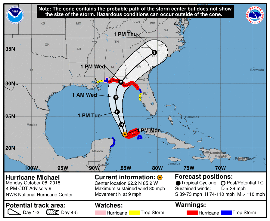 Hurricane Michael, 4pm forecast 10/8/2018