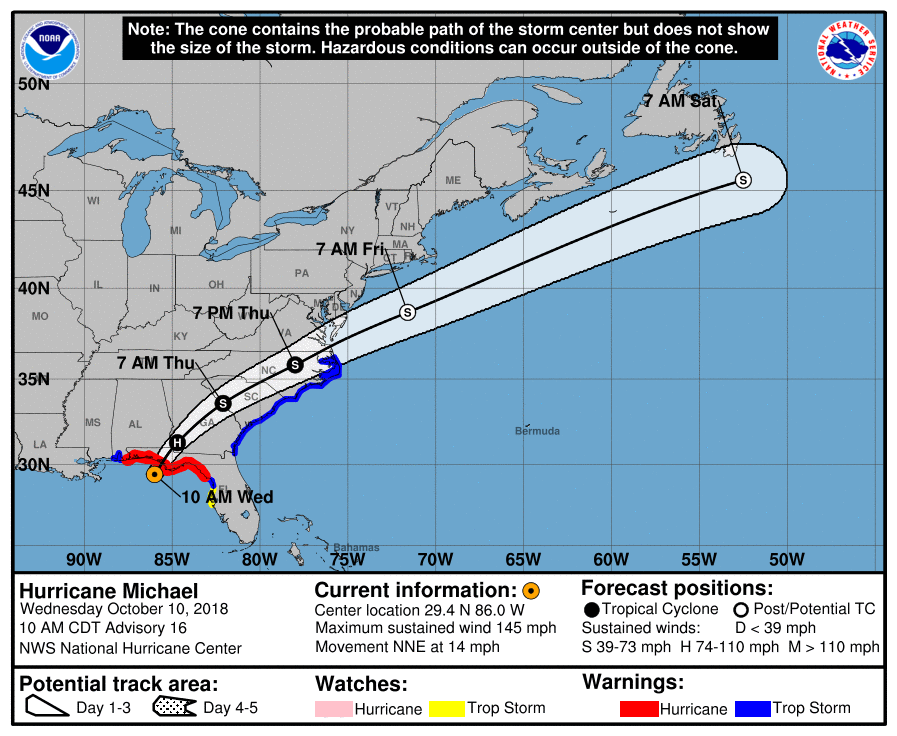hurricane michael forecast 10am 10/10/2018